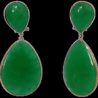 Lg Burmese Jadeite Earrings 14K