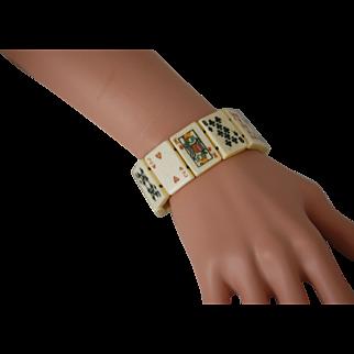 Elastic Bone Tile Carved Bone Bracelet Playing Cards