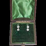 Antique 2 Stone Sparkly Paste Earrings w 14K Shepherd's Hook Wires