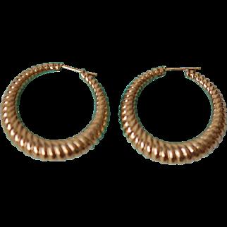 Authenic Tiffany (marked) 14K Post Hoop Earrings, Pristine