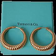 Pristine Tiffany (marked) 14K Post Hoop Earrings