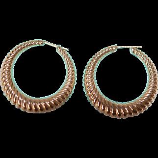 Tiffany 14K Post Hoop Earrings  Hallmarked