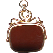Carnelian Faceted 9ct Swivel Fob