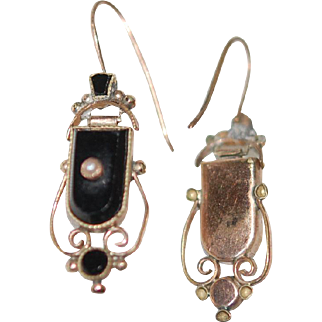 Victorian Mourning Onyx 12ct Gold Earrings w Shepherd's Wire