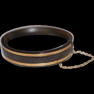 Antique Victorian Gutta Percha 12ct Gold Inlay Safety Bangle Bracelet