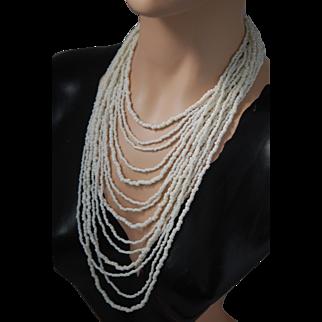 "Stunning White Coral 14 Strand Bib  Necklace ~17-29"""
