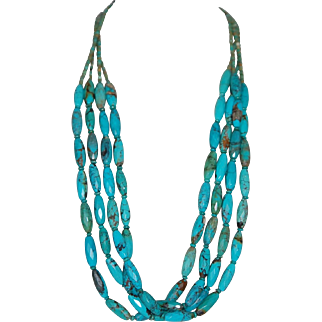 Faceted Turquoise Necklace w Sterling Silver Clasp