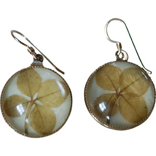 Art Deco Essex Lucky 4 Leaf Clover Earrings
