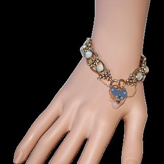 Rare Victorian 9ct Moonstone Lovers Padlock Gate Bracelet