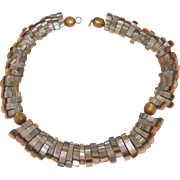 "Vintage 16"" Abalone Bib Necklace Collar"