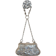 Antique Sterling Silver Purse w Belt Clip c1897