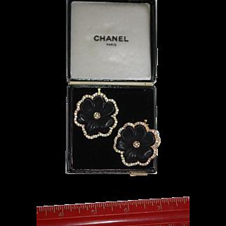 Vintage Chanel Black Camellia Earrings w Box, Pristine