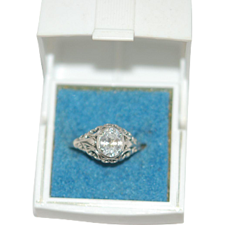 Vintage Sterling Ring in OLd Plastic Box