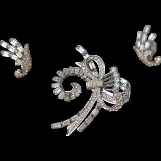 Sterling Silver Rhinestone Pin Broach Earring Set
