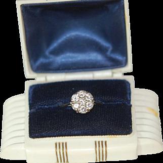 Art Deco 14K Diamond Cluster Engagement R Finger Ring