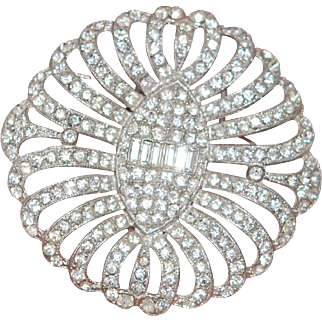 """Huge 2.75"""" Sparkly Vintage Pin Brooch, Perfect"""