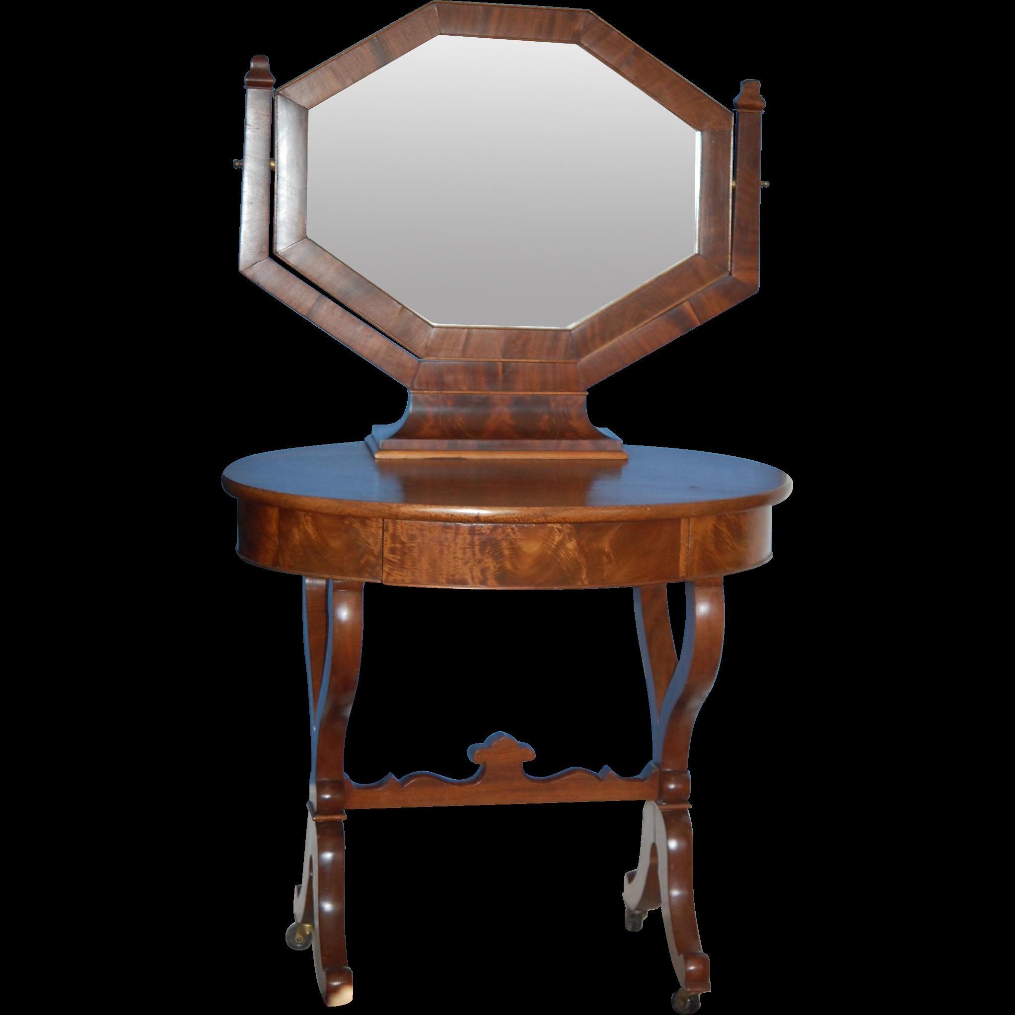 Choice Mahogany Ladies Dressing Table w Trifole Mirror ...