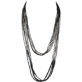 """52"""" 4 Strand Facet Jet Necklace Early Plastic"""