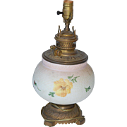 Victorian Mt Washington Oil Lamp to Electric Painted 3 Color Pansy