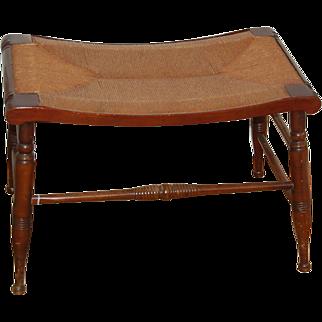 Rush Seat Bench w Wood Frame
