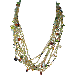 Multi-Strand Peridot Green & Amber Art Glass Vintage Necklace: Ex Cond