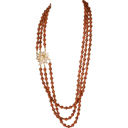 "Long 3 Strand Carnelian Plastic Necklace w ""Coral"" Clasp"