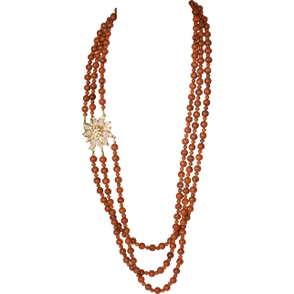 """Long 3 Strand Carnelian Plastic Necklace w """"Coral"""" Clasp"""