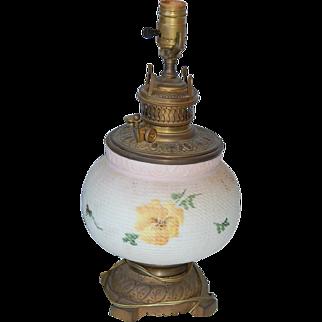 Antique Mt Washington Fine Line Basketweave Pansy Lamp