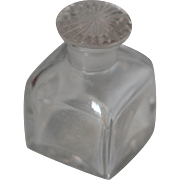 Victorian c1850 Glass Travel Bottle w Decorative Lid