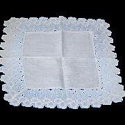 Crochet Edge Lady Hankie Handkerchief Fine Vintage