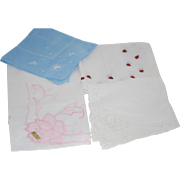 Lady's Hanki Set of 3 Handkerchief: Ladybug, Embroidery, Lace + 1 Free