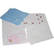 Lady's Hanki Set of 3 Handkerchief: Ladybug & Pink Embroidery New + Lovely White Lace + 1 Free
