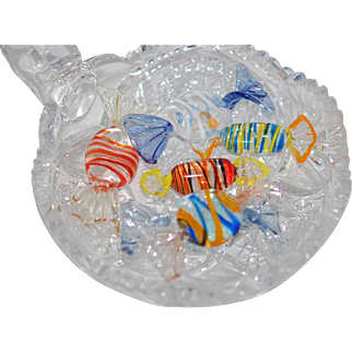 Cut glass Nappy with 6 Murano Candies