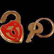 Vintage Metal Lock & Key Red Enamel Face