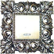 CLEARANCE: Heavy Bronze Hand Set Gem Picture Frame w Pretty Green Enamel Back