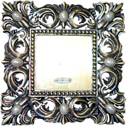 Michael Hero Heavy Bronze Hand Set Gem Picture Frame w Pretty Green Enamel Back