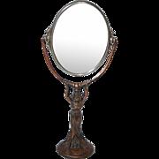 "Art Nouveau Standing ""Lady"" Dresser Top Flip Mirror"