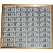Uncut Sheet US Currency Uncirculated 1985 Framed