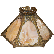 Ornate Framed Slag Glass Shade