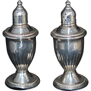 CLEARANCE: Sterling Silver Salt Pepper Glass Lined, EX c1940