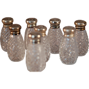 Set of 8 Individual Sterling Silver (Marked) Top Salt Shakers