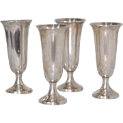 Set 4 Sterling Sillver Tulip Shaped Cordials