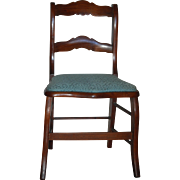 Victorian Side Chair w Upholstered Seat & Cane Bottom