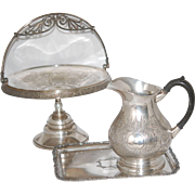 Antique Silver Bride's Bowl, Coffee Pot, Tray
