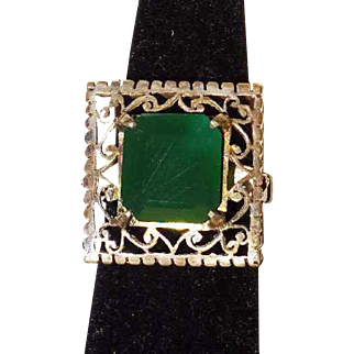 Vintage Green Onyx and Silver Cocktail Style Ring