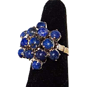 Vintage Lapis Lazuli and Silver Cocktail Style Ring