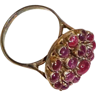 Vintage Red Agate and Silver Cocktail Style Ring