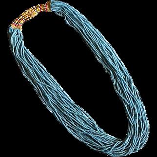 Antique Naga Tribal Blue Glass Trade Bead Necklace