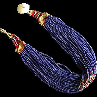 Antique Naga Tribal Cobalt Royal Glass Trade Bead Necklace