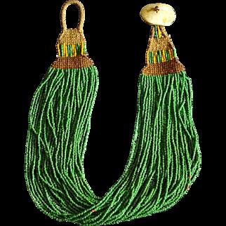Antique Naga Tribal Green Glass Trade Bead Necklace